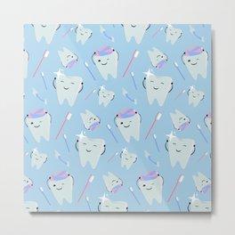 Cute teeth toothpaste Metal Print