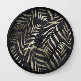 Modern Gold Leaves on Dark Marble Wall Clock