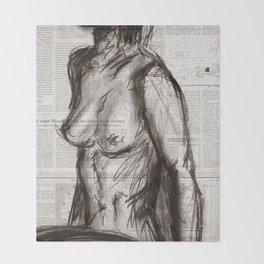 Rain Shower (Regenschauer) Charcoal Newspaper Figure Drawing Throw Blanket