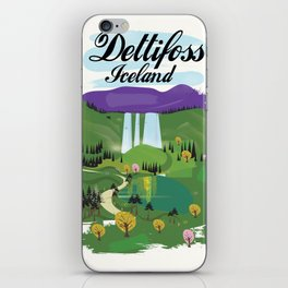 Dettifoss Icelandic holiday poster. iPhone Skin