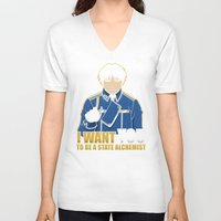 fullmetal alchemist V-neck T-shirts featuring I Want You to be a State Alchemist by adho1982