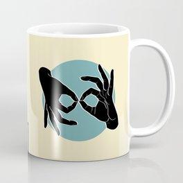 Sign Language (ASL) Interpreter – Black on Turquoise 04 Coffee Mug