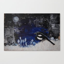 bird on the snow, love bird, magpie painting, bird in the night Canvas Print