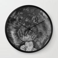 rat Wall Clocks featuring Rat by Natasha Maiklem