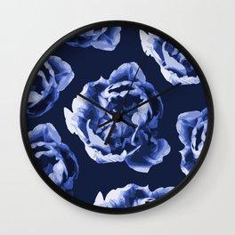 Pastel Blue Flowers On A Dark Blue Background #decor #society6 #buyart Wall Clock