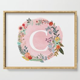 Flower Wreath with Personalized Monogram Initial Letter C on Pink Watercolor Paper Texture Artwork Serving Tray