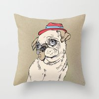 pug Throw Pillows featuring Pug by Madmi