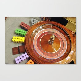 casino roulette wheel spinning Canvas Print