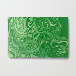 Green pastel abstract marble Metal Print