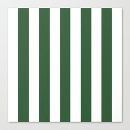 Hunter green - solid color - white vertical lines pattern Canvas Print