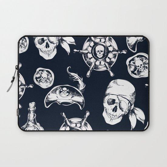 Navy Blue Pirate Pattern Laptop Sleeve