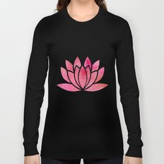 Watercolor Lotus Flower Yoga Zen Meditation Long Sleeve T-shirt
