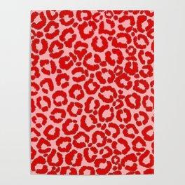 Bold Modern Red Pink Leopard Animal Print Poster