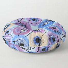 Circles and Flowers- Blue Floor Pillow