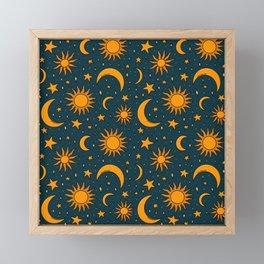 Vintage Sun and Star Print in Navy Framed Mini Art Print