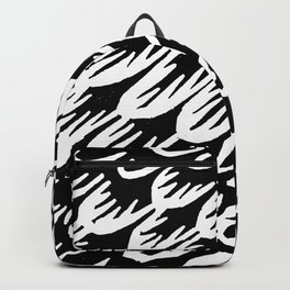 Black and white brush stroke feathers pattern 3 Backpack