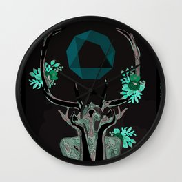 Cider Label- Antlers Wall Clock