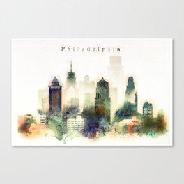 Philadelphia Pennsylvania Watercolor Skyline Canvas Print