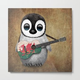 Baby Penguin Playing Welsh Flag Guitar Metal Print