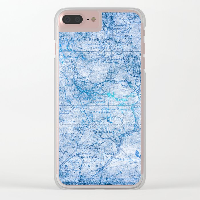 Blue Shimmer Map Design Clear iPhone Case