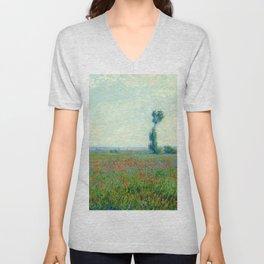 "Claude Monet ""Poppy Field"", 1881 Unisex V-Neck"