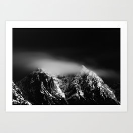 Black and white long exposure of clouds above mountain Art Print