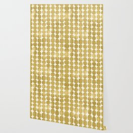 Midcentury Modern Dots in Gold Wallpaper