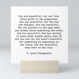 She Was Beautiful, F. Scott Fitzgerald, Quote Mini Art Print