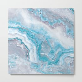 Ocean Foam Mermaid Marble Metal Print