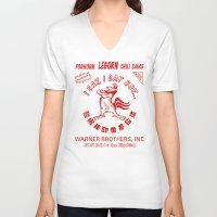 sriracha V-neck T-shirts featuring Foghorn Leghorn Sauce (Red) by Huemanitee