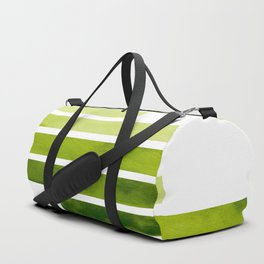 Sap Green Midcentury Modern Minimalist Staggered Stripes Rectangle Geometric Pattern Watercolor Art Duffle Bag