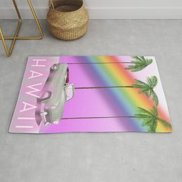 hawaiian rainbow travel poster print. Rug