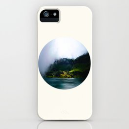 Mid Century Modern Round Circle Photo Green Cliffs Meeting Turquoise Waters iPhone Case
