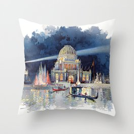 White City at Night, Chicago World's Fair of 1893 Throw Pillow