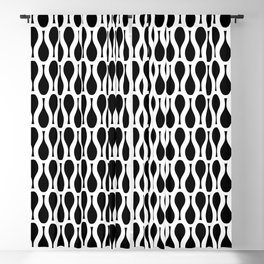 KEYHOLE black and white repeat abstract pattern Blackout Curtain