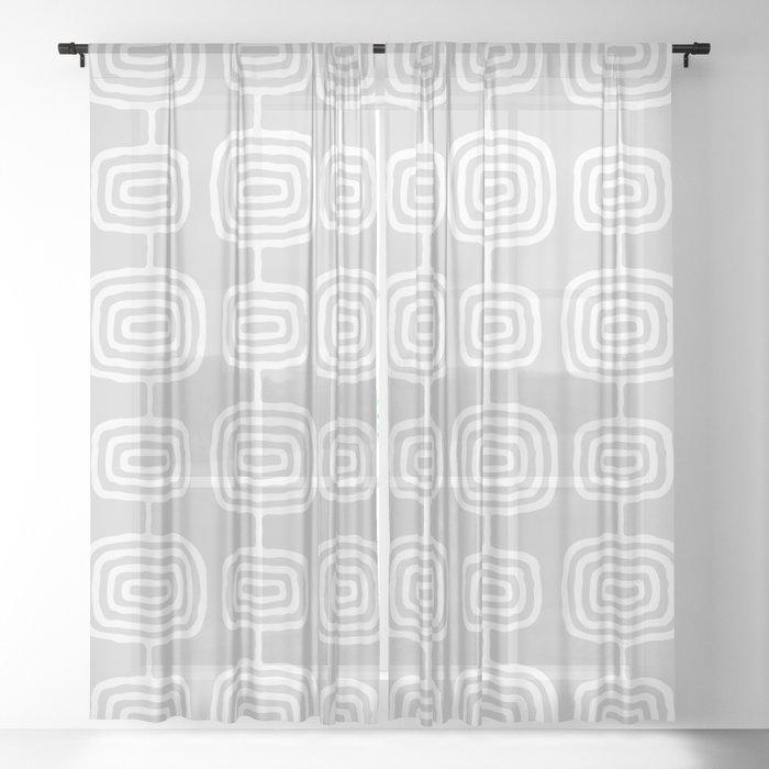 Mid Century Modern Atomic Rings Pattern 731 Gray Sheer Curtain