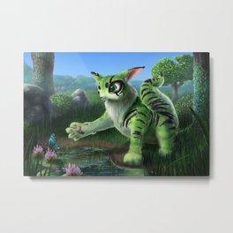 Fluffy Green Cat-Like Creature Metal Print