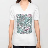 foo fighters V-neck T-shirts featuring Foo Dogs by Joe Pearson