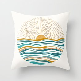 The Sun and The Sea - Gold and Teal Throw Pillow