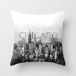 Chicago Skyline Sketch Throw Pillow