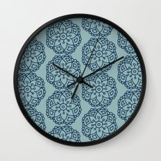 Navy blue lace floral Wall Clock