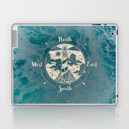 Lighthouse Compass Ocean Waves Gold Laptop & iPad Skin