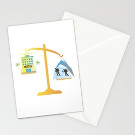 Mountain Holidays vs Beach Holidays Scales Stationery Cards