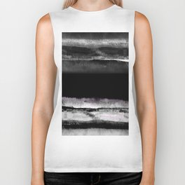 Elegant black and white modern abstract painting, marble texture Biker Tank