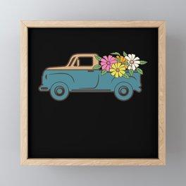 HIPPIE VAN Hippie Truck Flower Van Pickup Truck Framed Mini Art Print