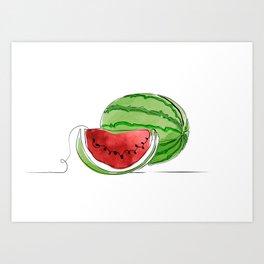 Watermelon One Line Color Art Print