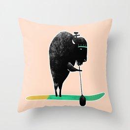 Buffalo on a baddle board in the ocean! Throw Pillow