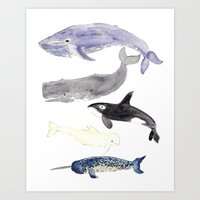 whales Art Prints featuring WHALES by Shannon Kirsten