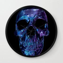 Polygon Skull - Blue / Purple Wall Clock