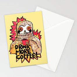 sloth drink more coffee Stationery Cards